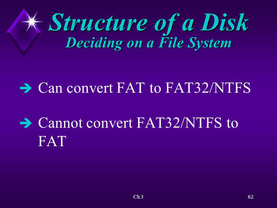 Ch 363 Clarifying Procedures Procedural assumptions: è System utility files subdirectory è Type of disk è Lab procedures