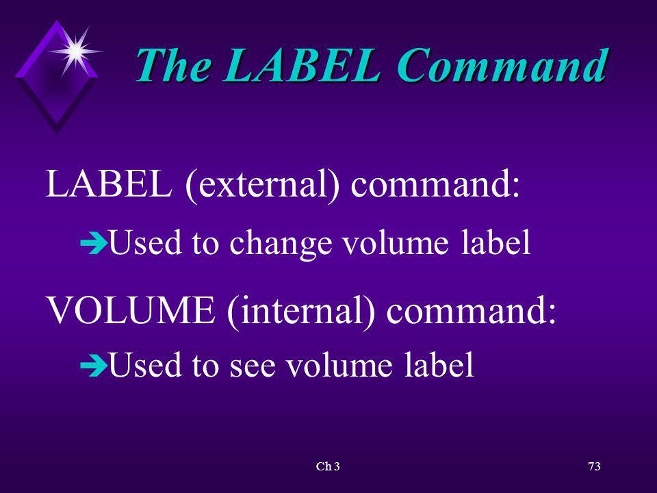 Ch 374 ActivityUsing the Label Command KEY CONCEPTS: è Importance of including A: parameter è Deleting volume label on disk è Placing volume label on disk è Use of spaces in LABEL and VOLUME commands