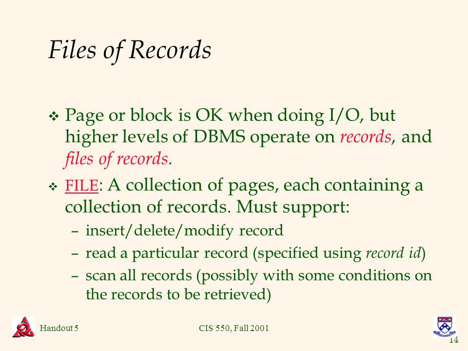 14 Handout 5CIS 550, Fall 2001 Files of Records v Page or block is OK when doing I/O, but higher levels of DBMS operate on records, and files of records.