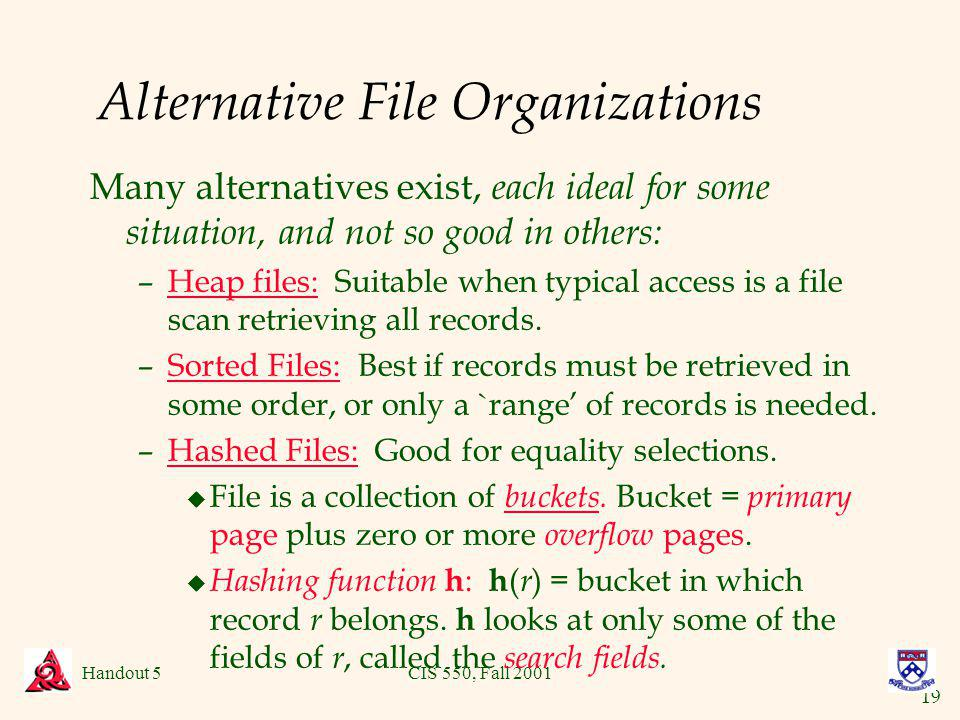 19 Handout 5CIS 550, Fall 2001 Alternative File Organizations Many alternatives exist, each ideal for some situation, and not so good in others: –Heap files: Suitable when typical access is a file scan retrieving all records.