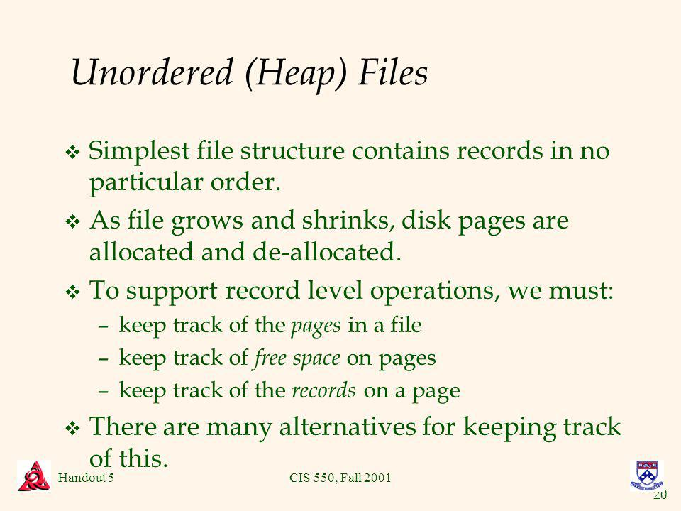 20 Handout 5CIS 550, Fall 2001 Unordered (Heap) Files v Simplest file structure contains records in no particular order.