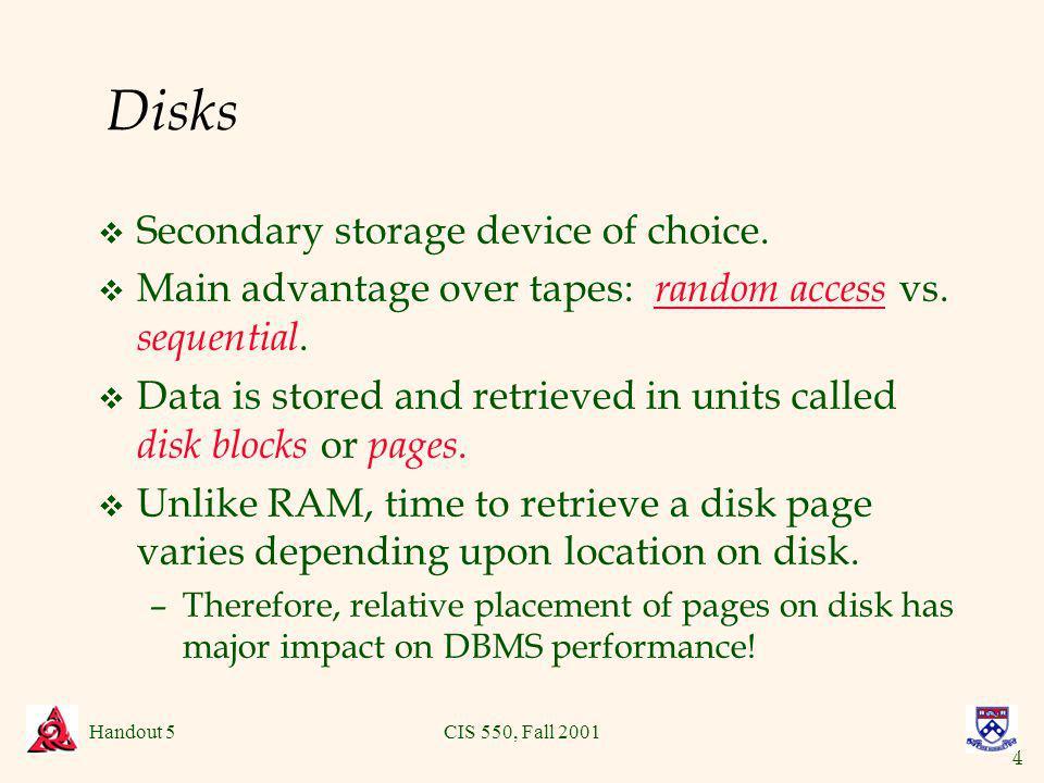 4 Handout 5CIS 550, Fall 2001 Disks v Secondary storage device of choice.