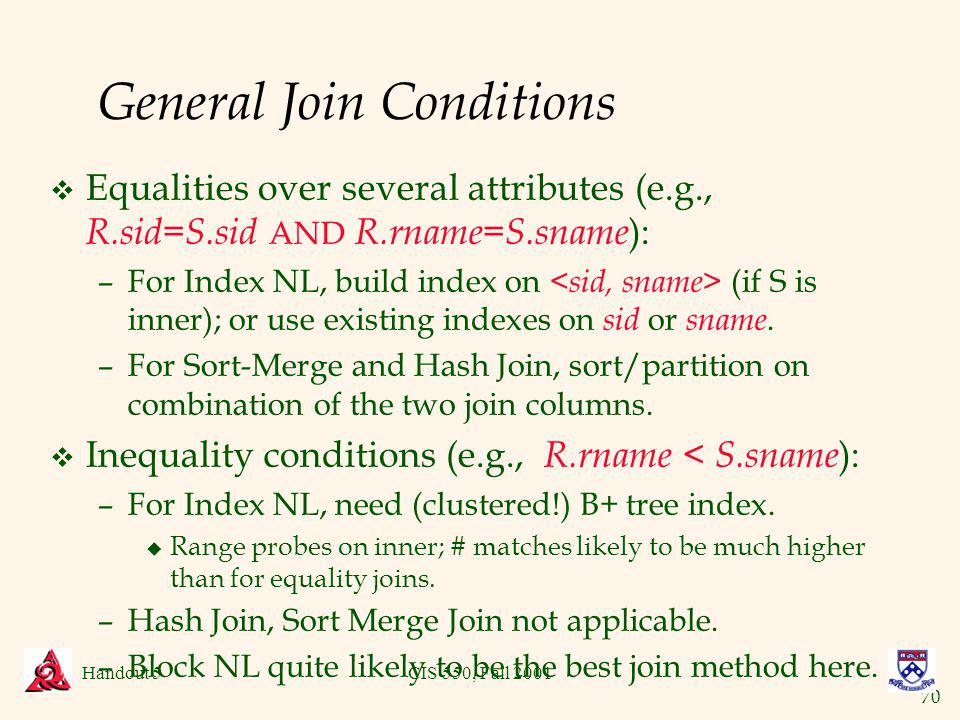70 Handout 5CIS 550, Fall 2001 General Join Conditions v Equalities over several attributes (e.g., R.sid=S.sid AND R.rname=S.sname ): –For Index NL, build index on (if S is inner); or use existing indexes on sid or sname.