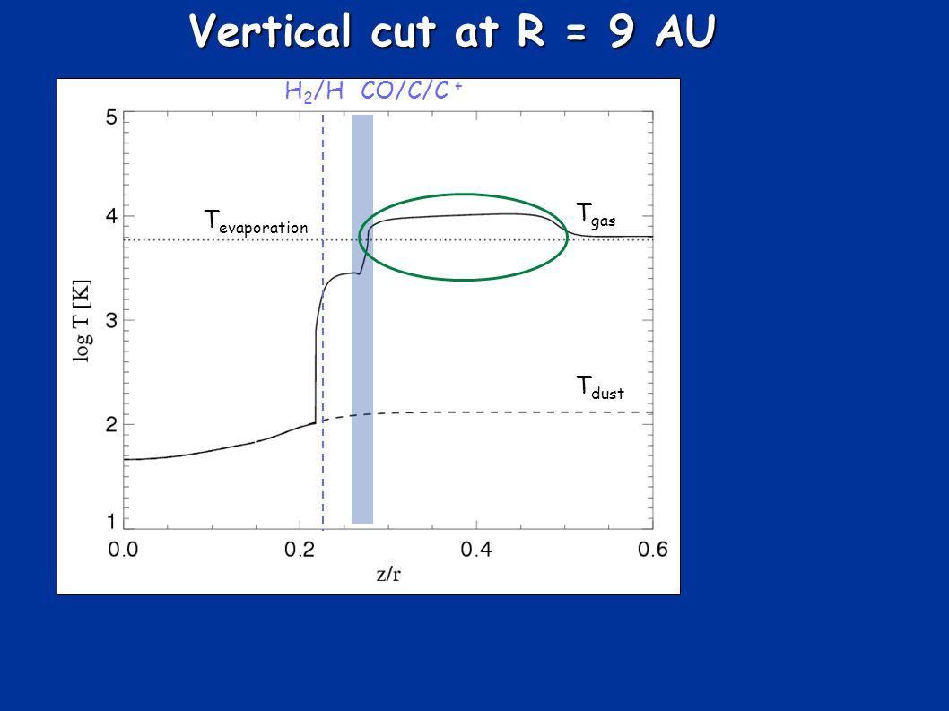 Vertical cut at R = 9 AU T gas T dust T evaporation CO/C/C + H 2 /H