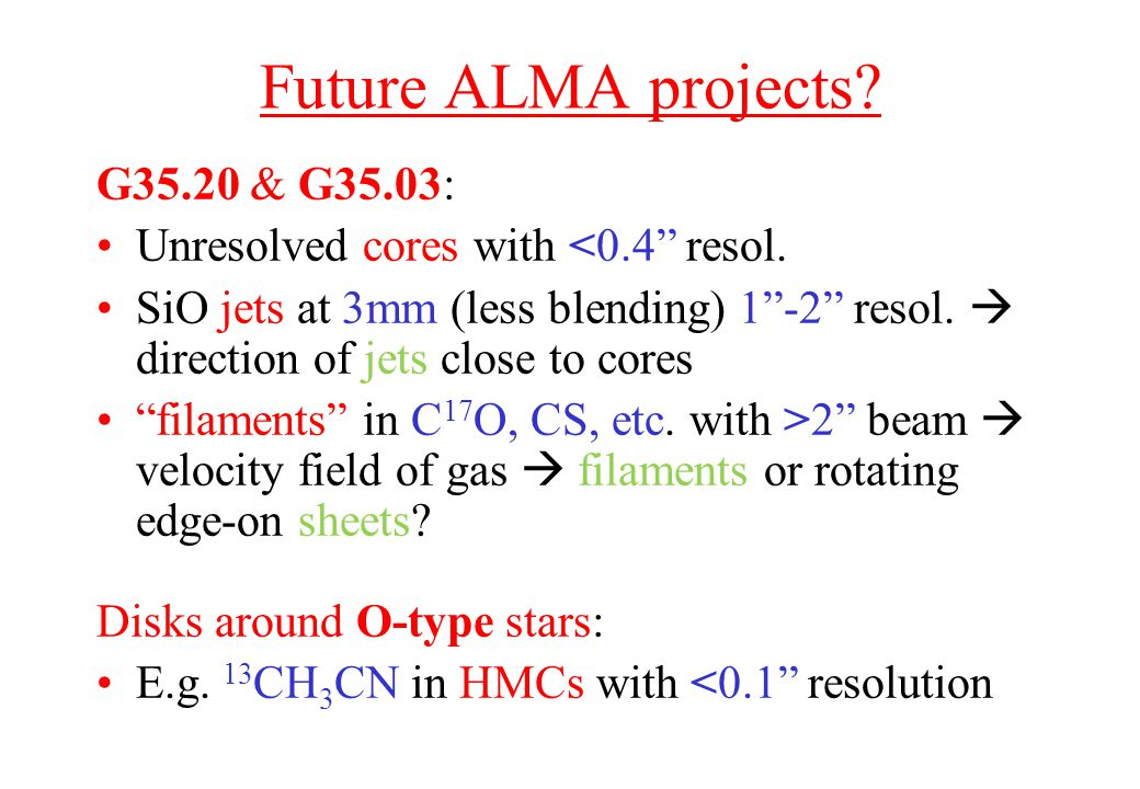 Future ALMA projects. G35.20 & G35.03: Unresolved cores with <0.4 resol.