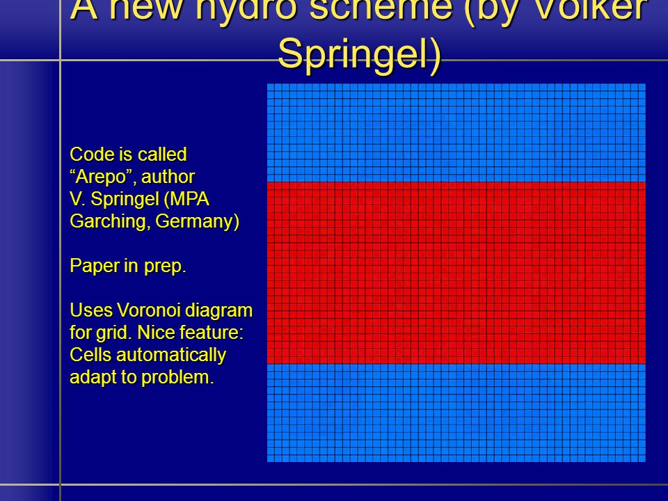 A new hydro scheme (by Volker Springel) Code is called Arepo, author V.