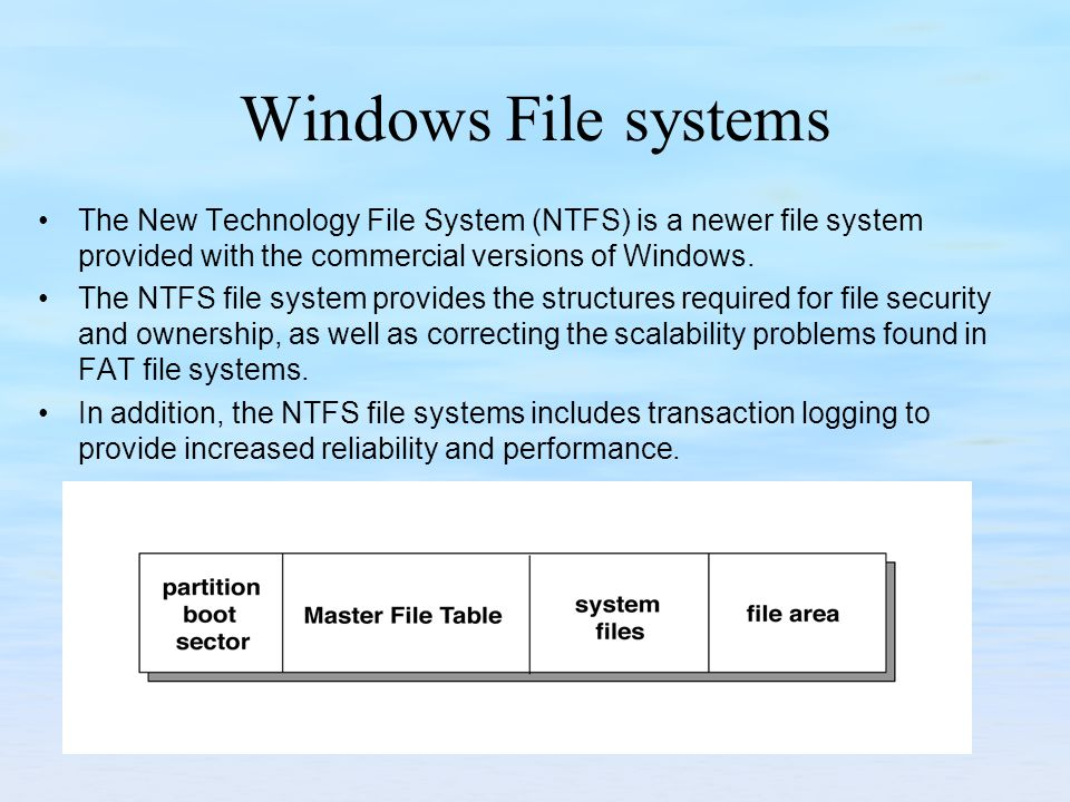 Windows File systems The New Technology File System (NTFS) is a newer file system provided with the commercial versions of Windows. The NTFS file syst