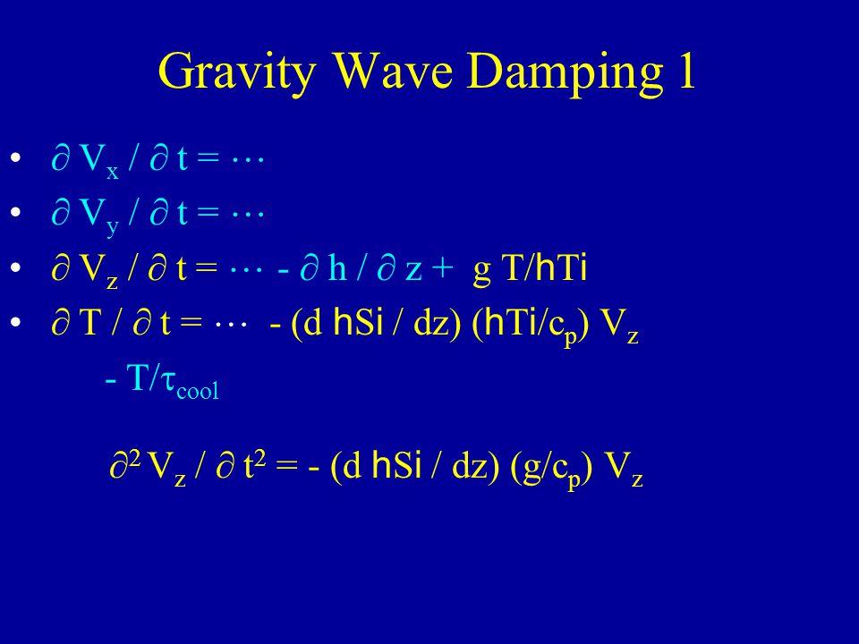 Gravity Wave Damping 1 V x / t = V y / t = V z / t = - h / z + g T/ h T i T / t = - (d h S i / dz) ( h T i /c p ) V z - T/ cool 2 V z / t 2 = - (d h S i / dz) (g/c p ) V z