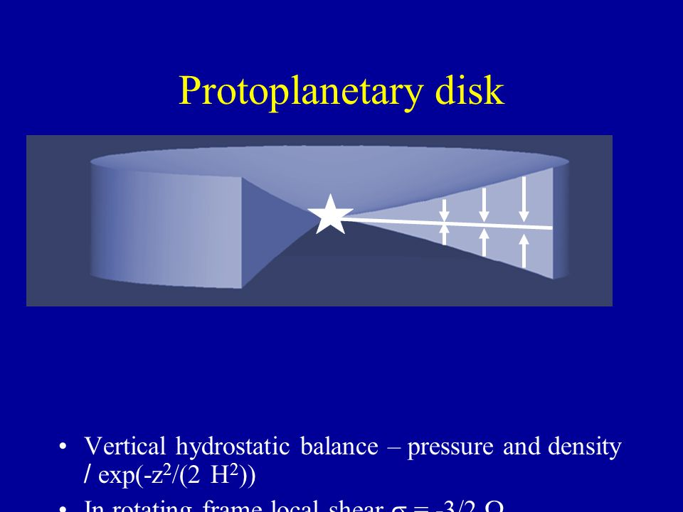 Keplerian gas and dust around a Protostar Gravity approximately linear in z: Vertical hydrostatic balance – pressure and density / exp(-z 2 /(2 H 2 ))
