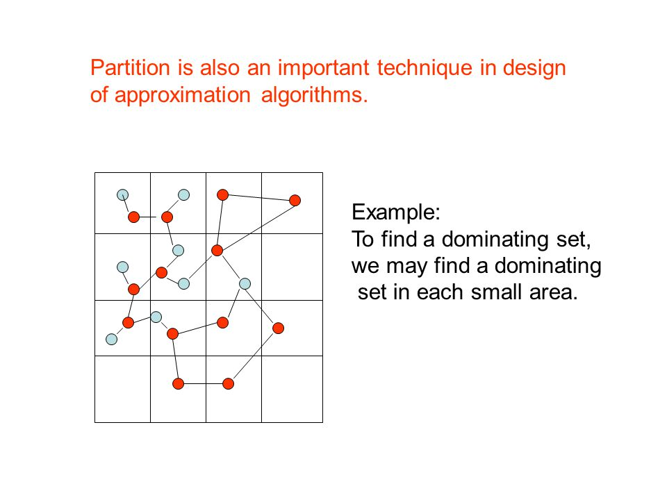 Partition is also an important technique in design of approximation algorithms.