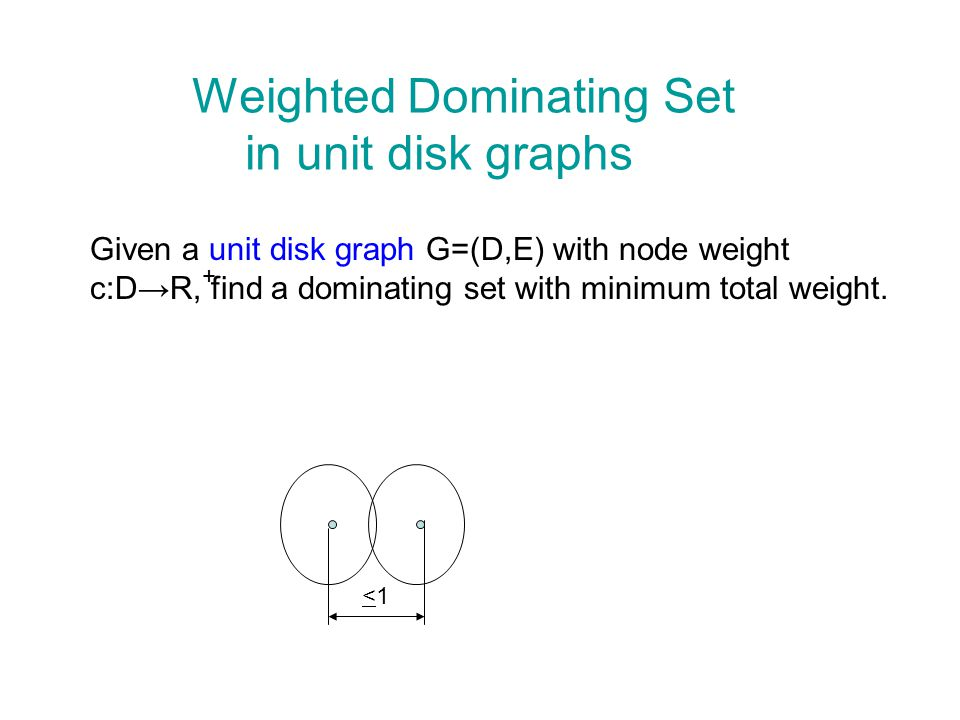 Weighted Dominating Set in unit disk graphs Given a unit disk graph G=(D,E) with node weight c:DR, find a dominating set with minimum total weight.
