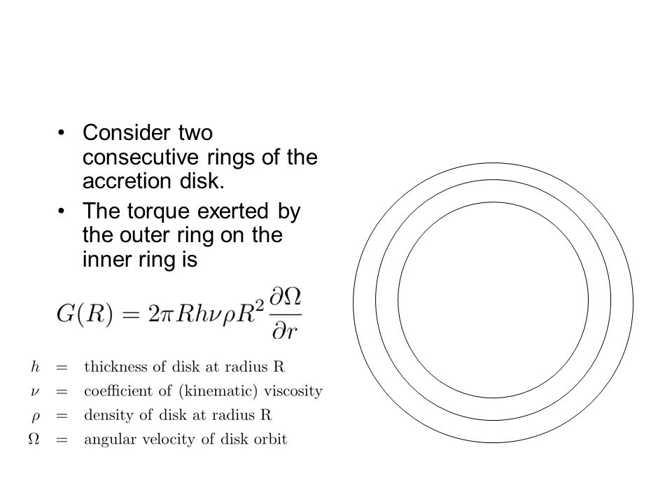 Consider two consecutive rings of the accretion disk. The torque exerted by the outer ring on the inner ring is