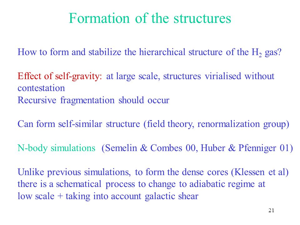 21 Formation of the structures How to form and stabilize the hierarchical structure of the H 2 gas.