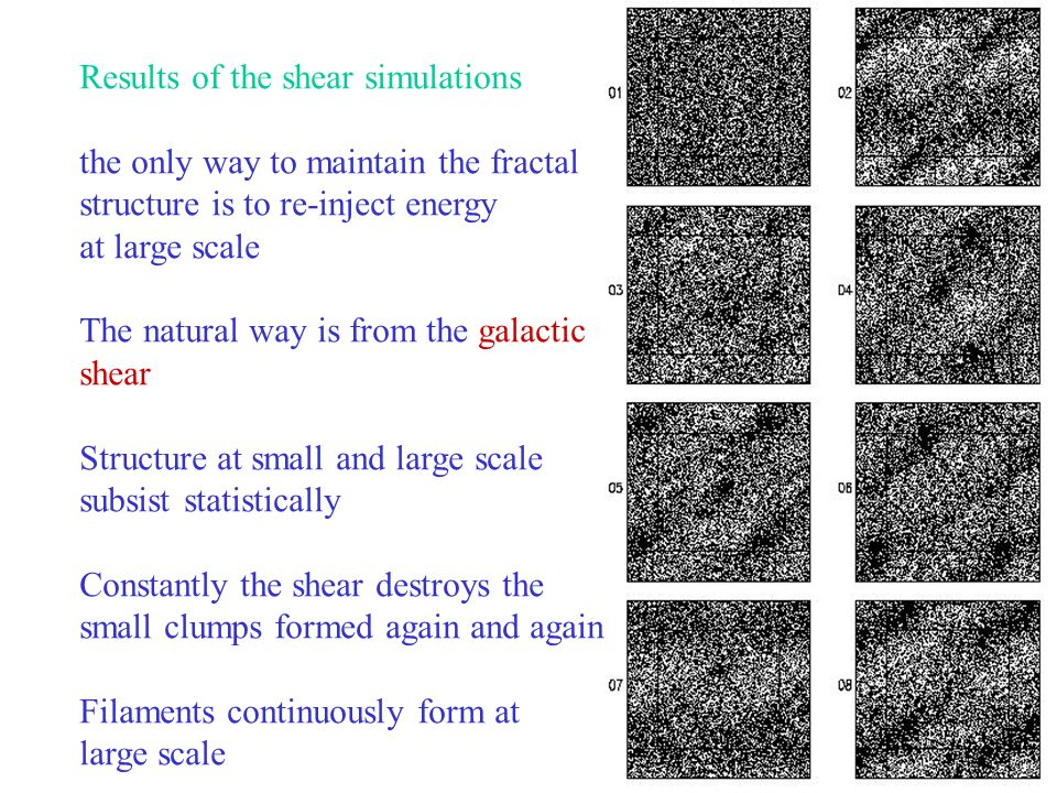 24 Results of the shear simulations the only way to maintain the fractal structure is to re-inject energy at large scale The natural way is from the galactic shear Structure at small and large scale subsist statistically Constantly the shear destroys the small clumps formed again and again Filaments continuously form at large scale