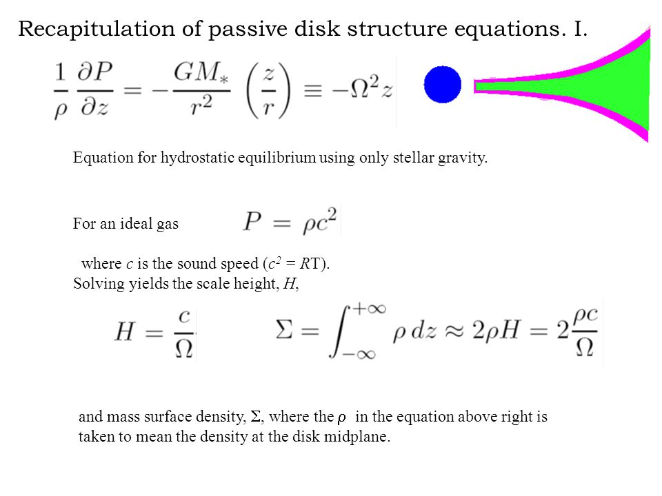 Recapitulation of passive disk structure equations.