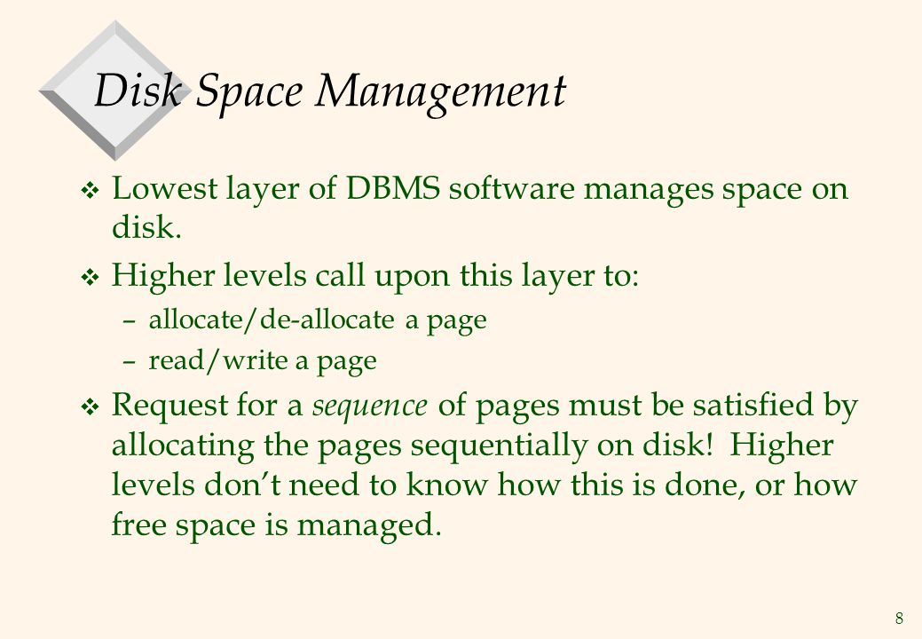 9 Buffer Management in a DBMS v Data must be in RAM for DBMS to operate on it.
