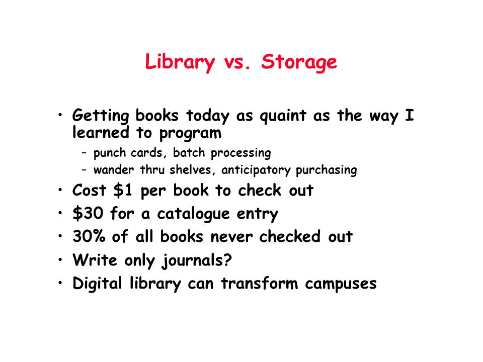 Library vs. Storage Getting books today as quaint as the way I learned to program –punch cards, batch processing –wander thru shelves, anticipatory pu