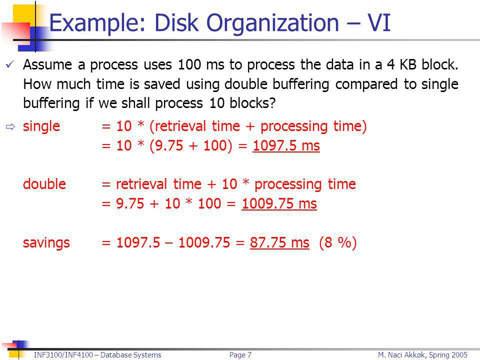 M. Naci Akkøk, Spring 2005INF3100/INF4100 – Database SystemsPage 7 Example: Disk Organization – VI Assume a process uses 100 ms to process the data in