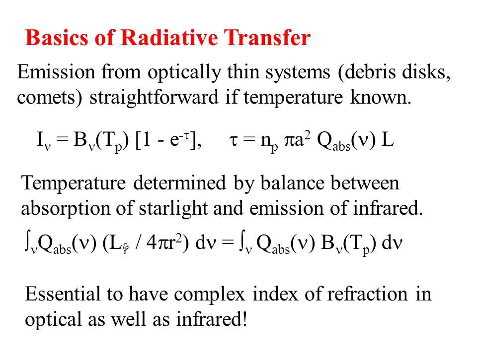 Basics of Radiative Transfer Emission from optically thin systems (debris disks, comets) straightforward if temperature known.