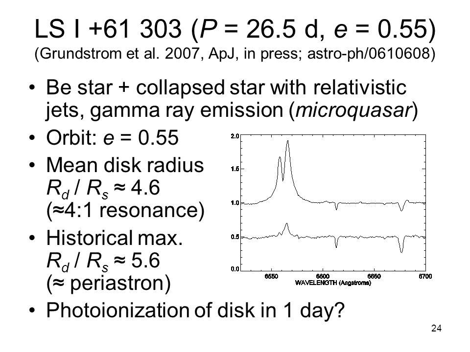 24 LS I +61 303 (P = 26.5 d, e = 0.55) (Grundstrom et al.