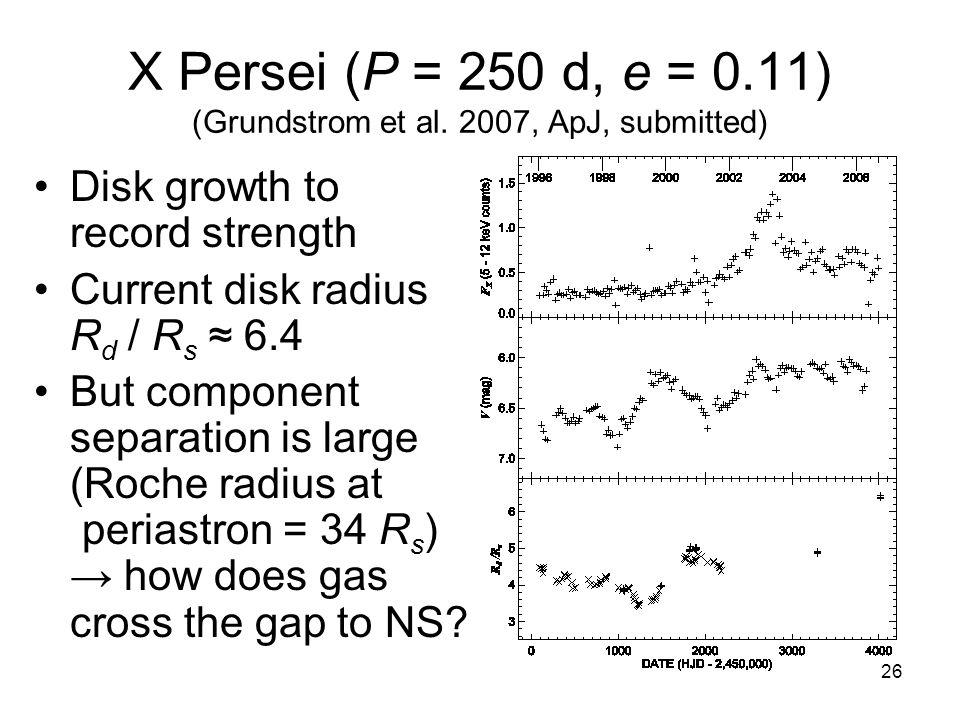 26 X Persei (P = 250 d, e = 0.11) (Grundstrom et al.