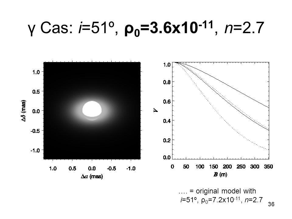 36 γ Cas: i=51º, ρ 0 =3.6x10 -11, n=2.7 …. = original model with i=51º, ρ 0 =7.2x10 -11, n=2.7