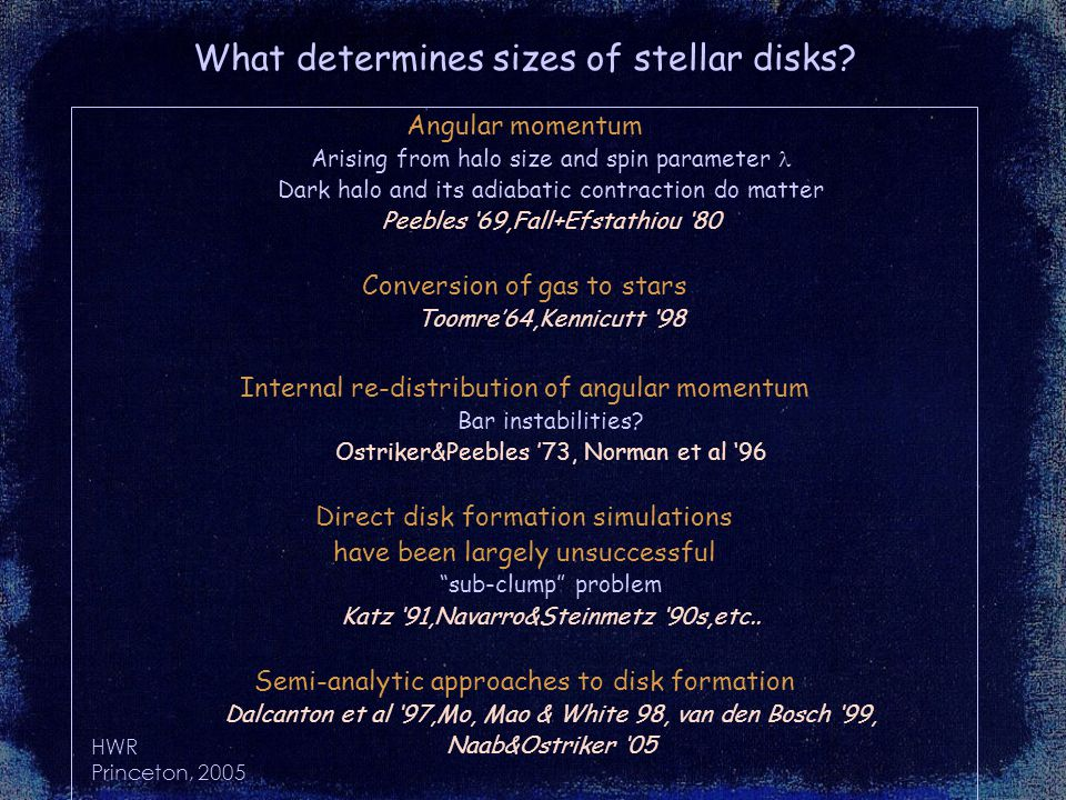HWR Princeton, 2005 What determines sizes of stellar disks.
