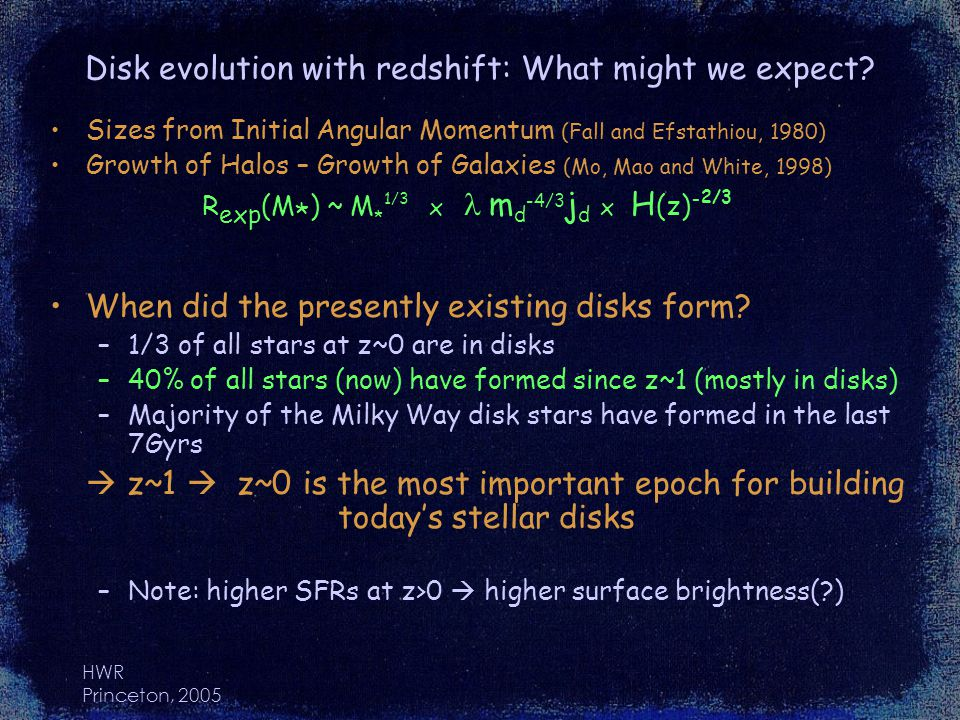 HWR Princeton, 2005 Disk evolution with redshift: What might we expect.
