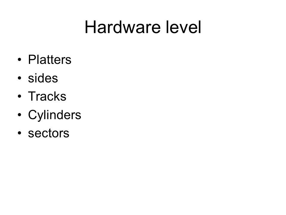 Hardware level Platters sides Tracks Cylinders sectors