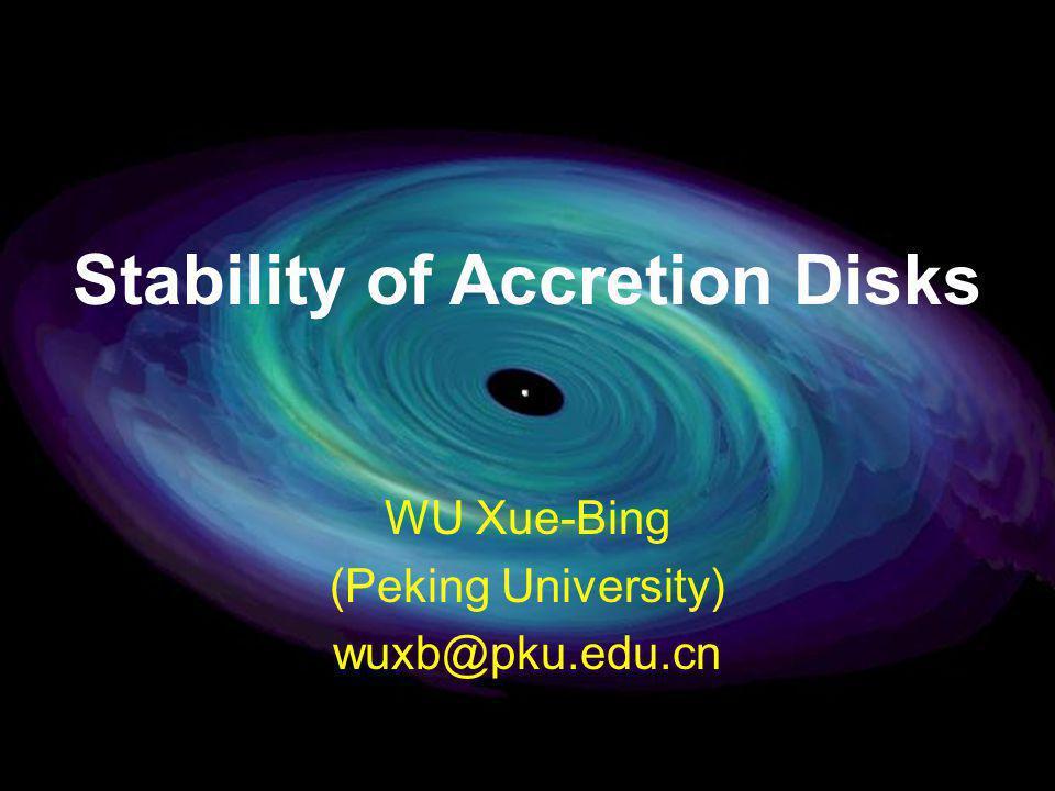 Stability of Accretion Disks WU Xue-Bing (Peking University) wuxb@pku.edu.cn