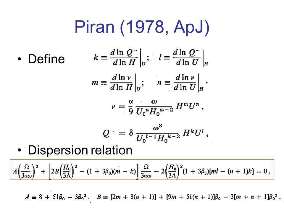 Piran (1978, ApJ) Define Dispersion relation