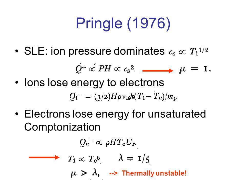 Pringle (1976) SLE: ion pressure dominates Ions lose energy to electrons Electrons lose energy for unsaturated Comptonization --> Thermally unstable!