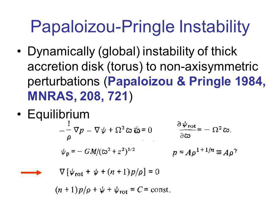Papaloizou-Pringle Instability Dynamically (global) instability of thick accretion disk (torus) to non-axisymmetric perturbations (Papaloizou & Pringle 1984, MNRAS, 208, 721) Equilibrium