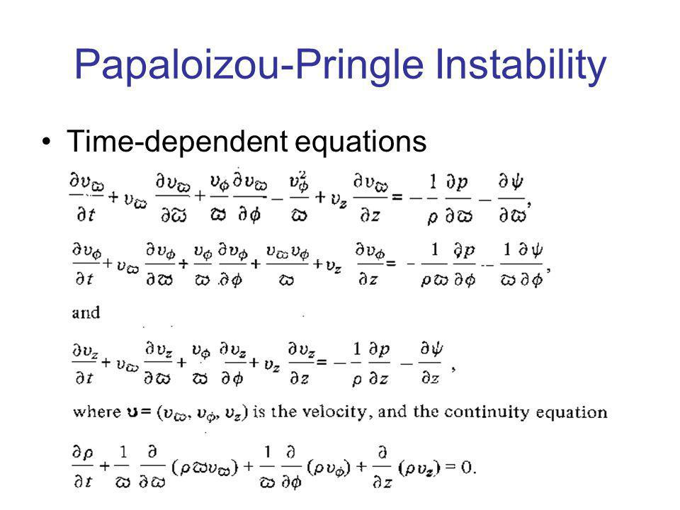 Papaloizou-Pringle Instability Time-dependent equations