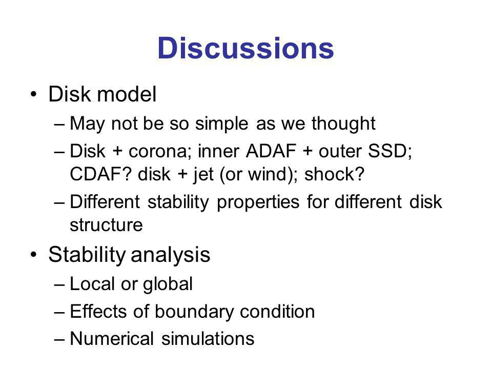 Discussions Disk model –May not be so simple as we thought –Disk + corona; inner ADAF + outer SSD; CDAF? disk + jet (or wind); shock? –Different stabi