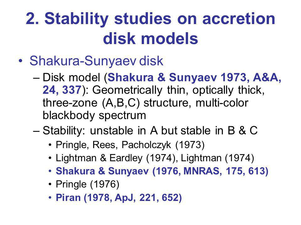 2. Stability studies on accretion disk models Shakura-Sunyaev disk –Disk model (Shakura & Sunyaev 1973, A&A, 24, 337): Geometrically thin, optically t