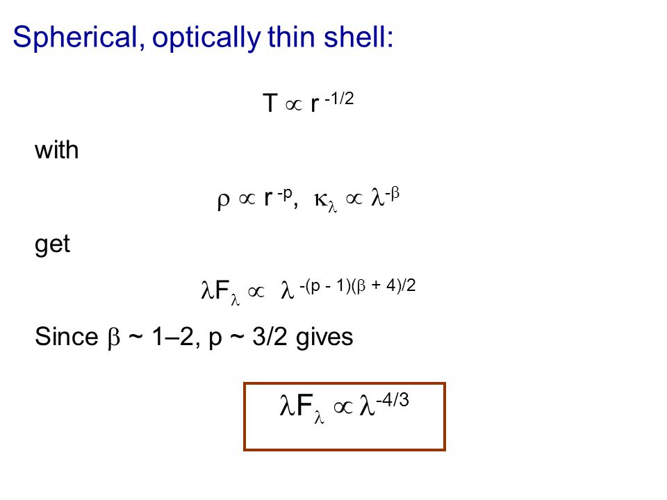 Spherical, optically thin shell: T r -1/2 with r -p, - get F -(p - 1)( + 4)/2 Since ~ 1–2, p ~ 3/2 gives F -4/3