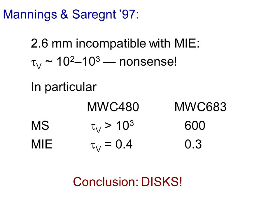 Mannings & Saregnt 97: 2.6 mm incompatible with MIE: V ~ 10 2 –10 3 nonsense.
