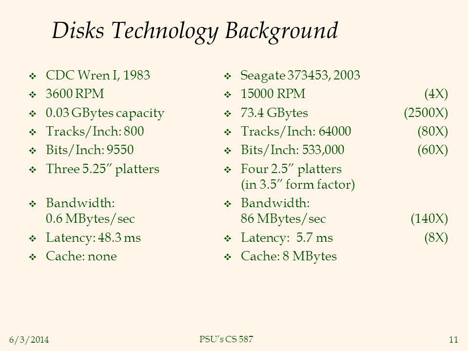 6/3/201411 PSUs CS 587 Disks Technology Background Seagate 373453, 2003 15000 RPM (4X) 73.4 GBytes (2500X) Tracks/Inch: 64000 (80X) Bits/Inch: 533,000