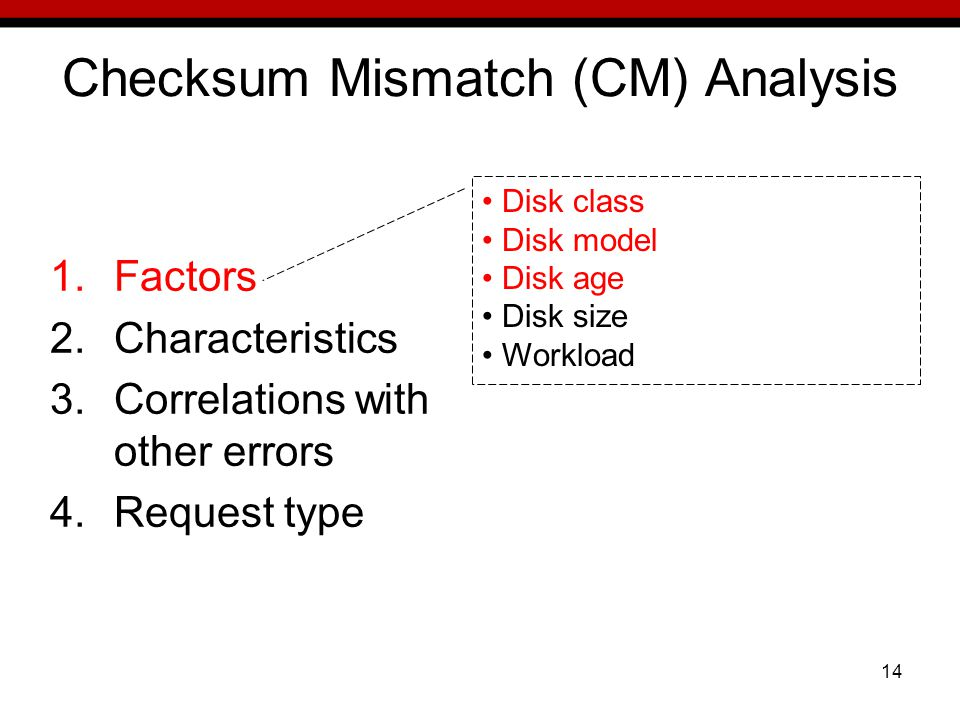 14 Checksum Mismatch (CM) Analysis 1.Factors 2.Characteristics 3.Correlations with other errors 4.Request type Disk class Disk model Disk age Disk size Workload