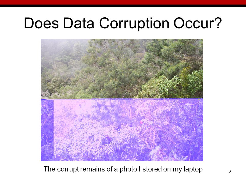 2 Does Data Corruption Occur The corrupt remains of a photo I stored on my laptop