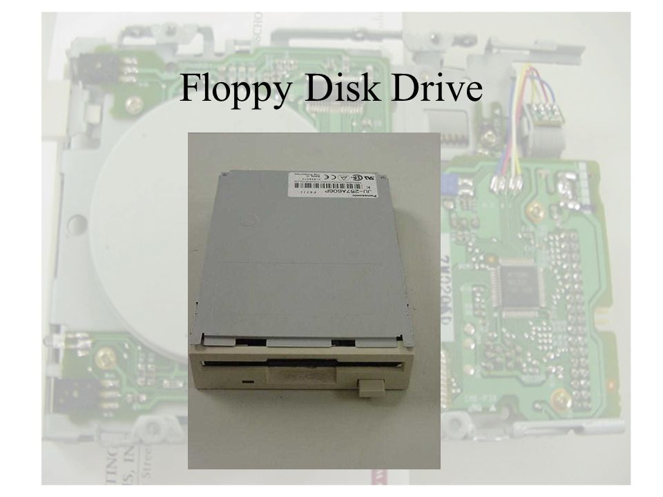 The major parts of a FDD include: Drive Motor: A very small spindle motor engages themotor metal hub at the center of the diskette, spinning it at either 300 or 360 rotations per minute (RPM).