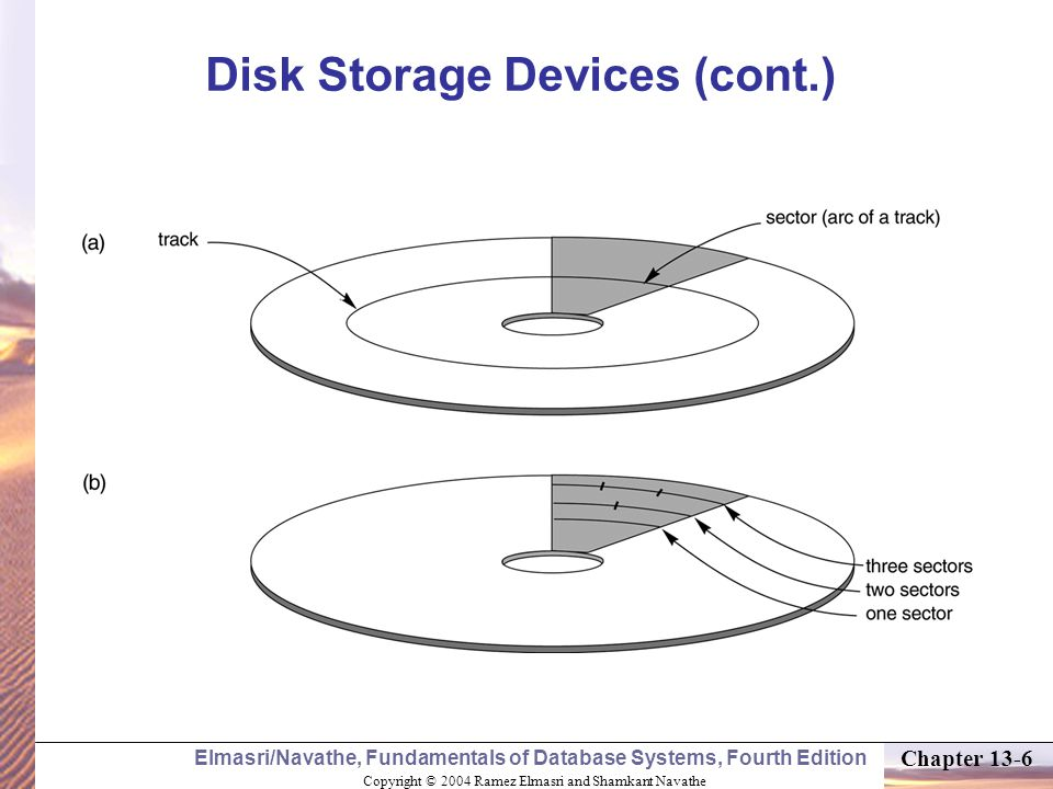 Copyright © 2004 Ramez Elmasri and Shamkant Navathe Elmasri/Navathe, Fundamentals of Database Systems, Fourth Edition Chapter 13-6 Disk Storage Devices (cont.)