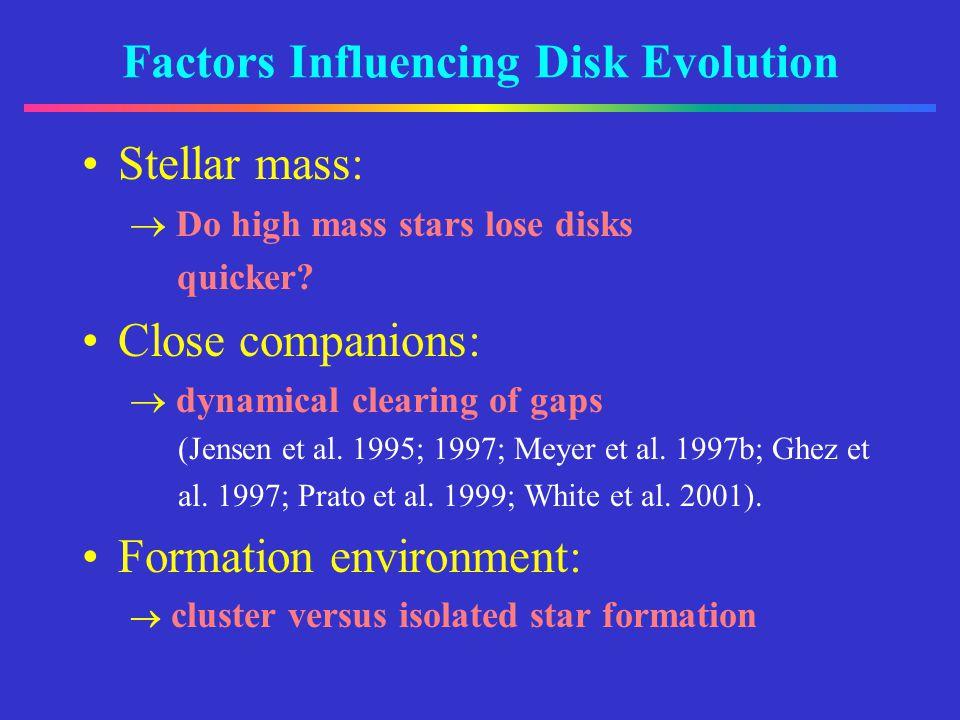 Factors Influencing Disk Evolution Stellar mass: Do high mass stars lose disks quicker.