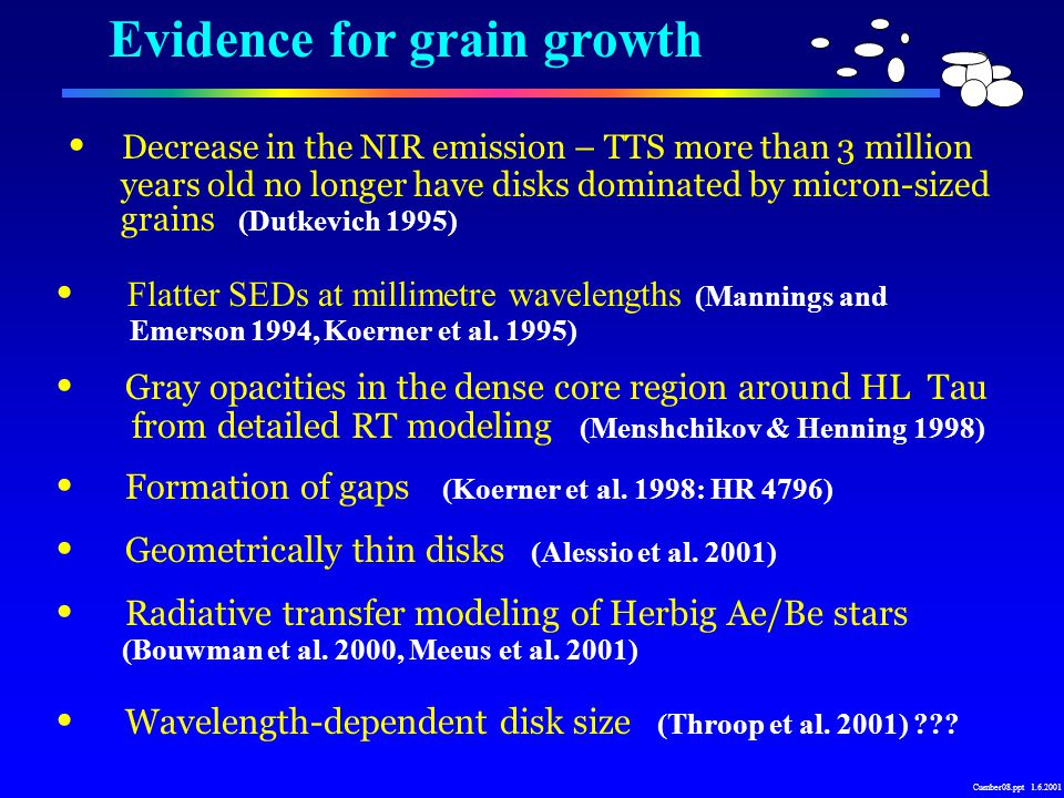 Evidence for grain growth Decrease in the NIR emission – TTS more than 3 million years old no longer have disks dominated by micron-sized grains (Dutkevich 1995) Flatter SEDs at millimetre wavelengths (Mannings and Emerson 1994, Koerner et al.