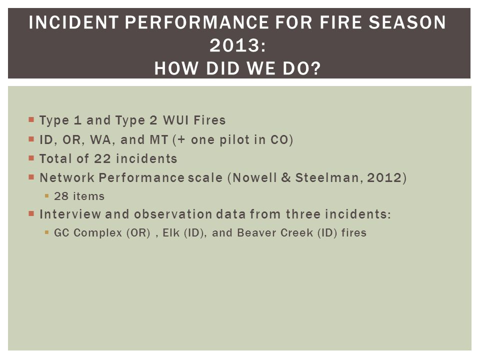 Type 1 and Type 2 WUI Fires ID, OR, WA, and MT (+ one pilot in CO) Total of 22 incidents Network Performance scale (Nowell & Steelman, 2012) 28 items Interview and observation data from three incidents: GC Complex (OR), Elk (ID), and Beaver Creek (ID) fires INCIDENT PERFORMANCE FOR FIRE SEASON 2013: HOW DID WE DO