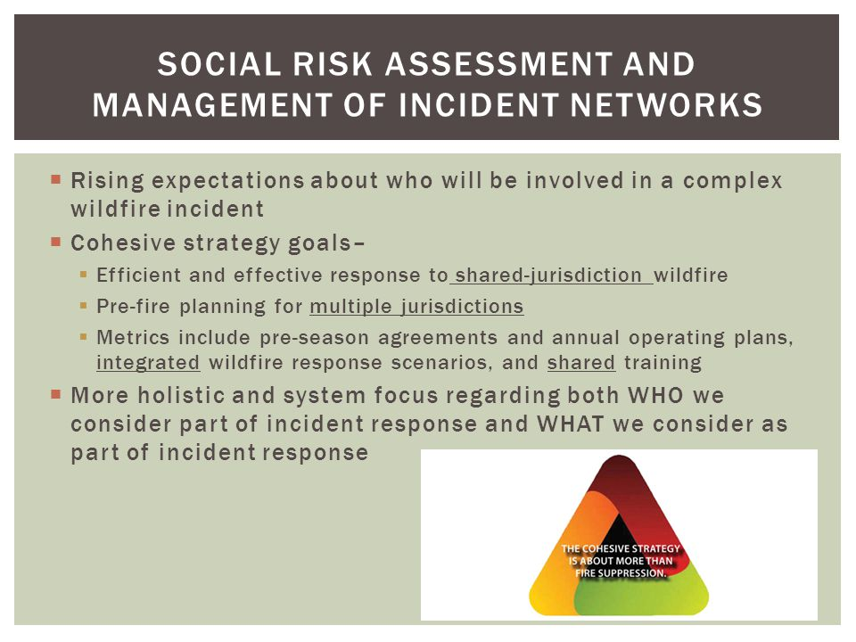 Disaster response: evacuation/ sheltering/road closures Fire operations and interagency interactions WHOLE NETWORK AS PART OF PERFORMANCE 36%