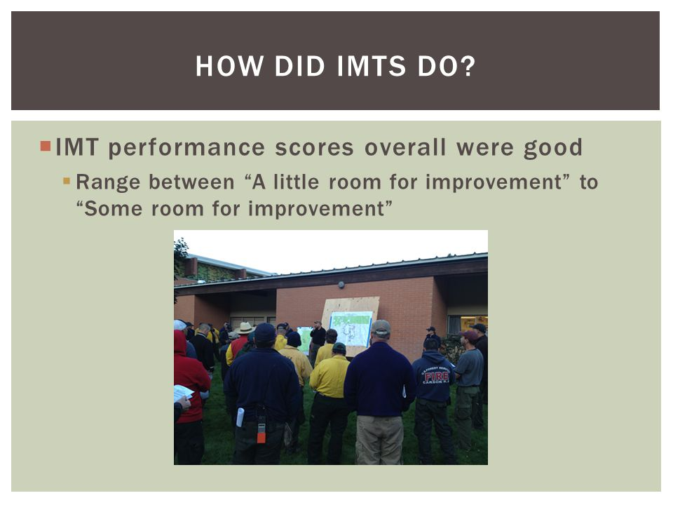 IMT performance scores overall were good Range between A little room for improvement to Some room for improvement HOW DID IMTS DO?
