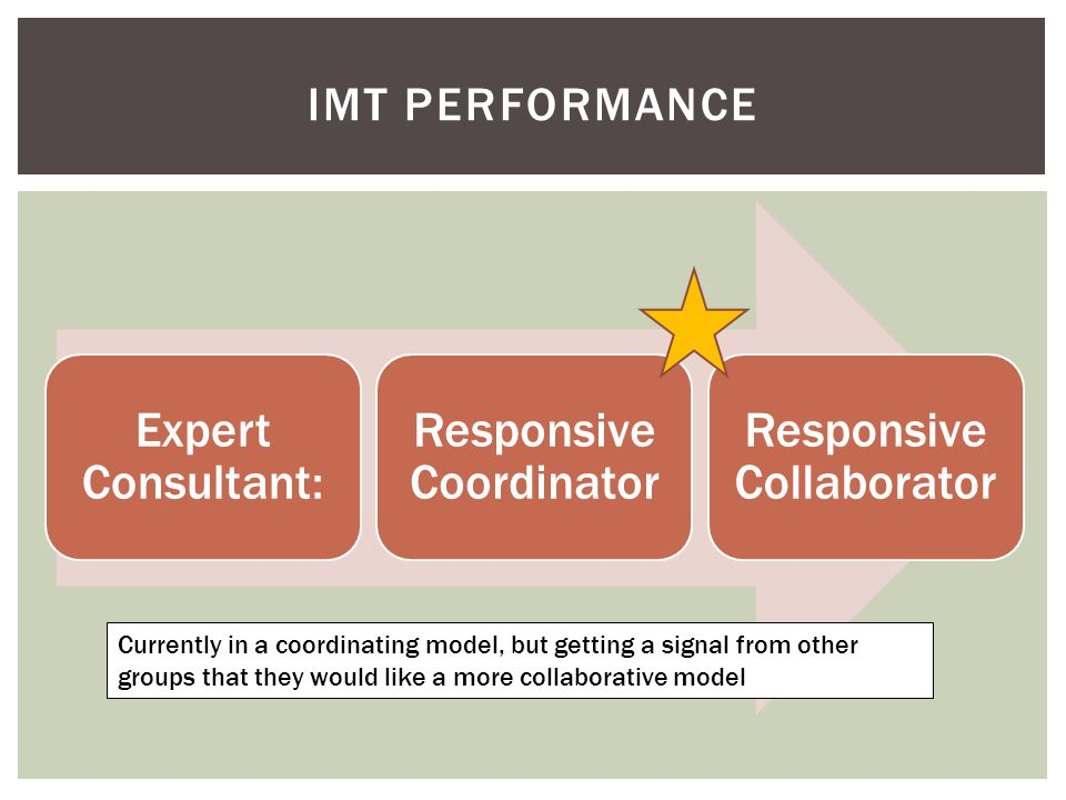 Expert Consultant: Responsive Coordinator Responsive Collaborator IMT PERFORMANCE Currently in a coordinating model, but getting a signal from other groups that they would like a more collaborative model