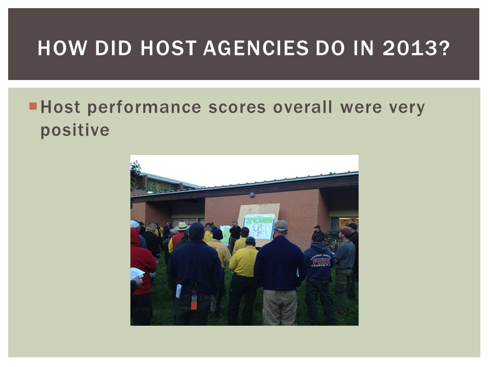 Host performance scores overall were very positive HOW DID HOST AGENCIES DO IN 2013